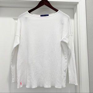 Ralph Lauren White Thermal Long Sleeve Top